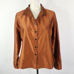 CP SHADES Top M Button Down 100% Raw Silk Bronze